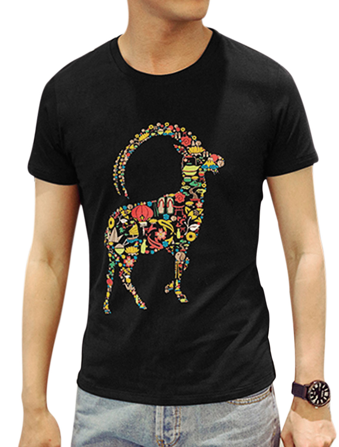 Men Short Sleeve Round Neck Sheep Print Casual Summer Tee Black M