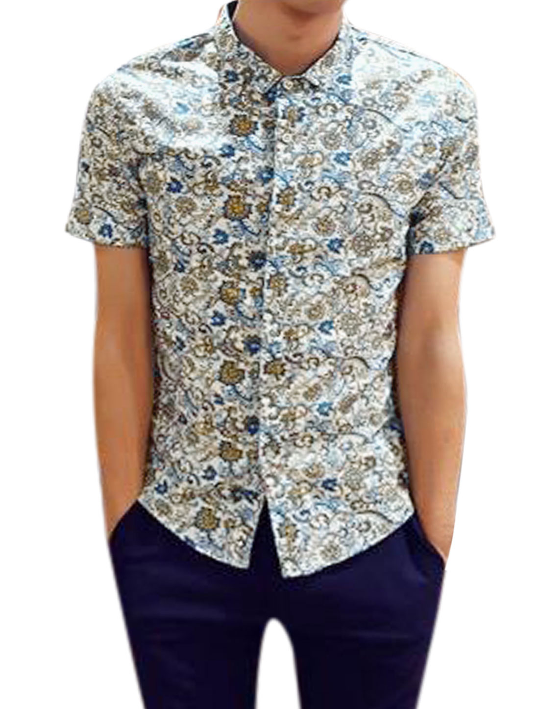 Man Paisley Novelty Prints Short Sleeves Button Down Casual Shirt Blue Ochre S