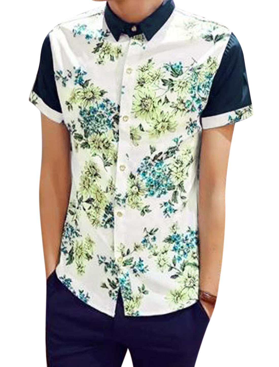 Men Short Sleeve Point Collar Floral Print Button Down Shirt White Green S
