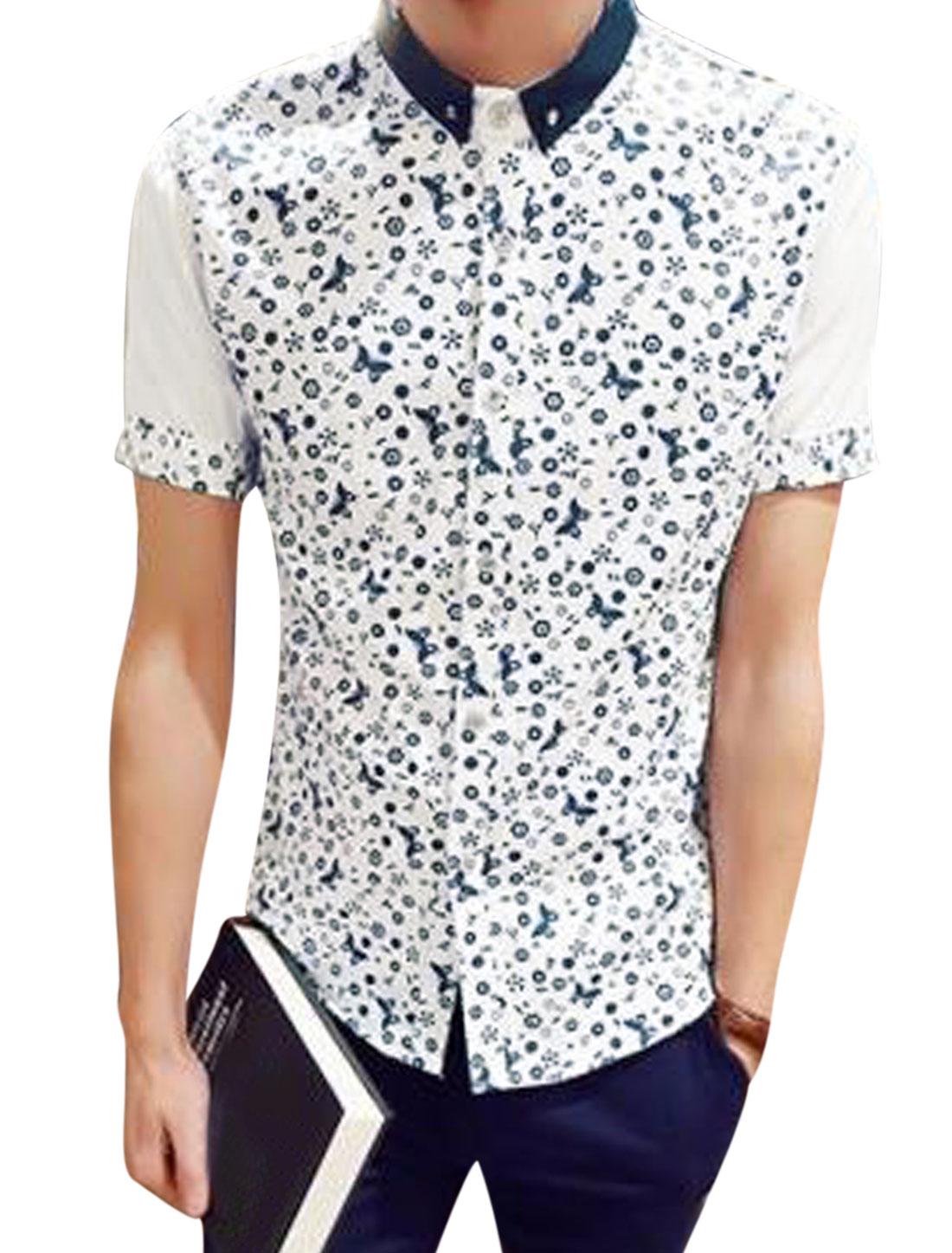 Men Short Sleeve Novelty Print Slim Fit Button Down Shirts White S