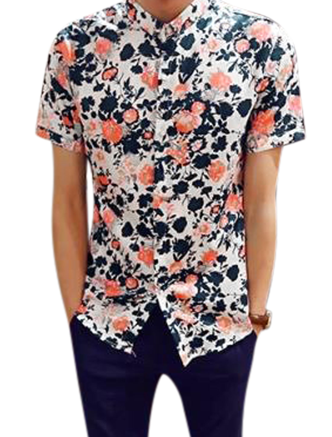 Man Flower Prints Point Collar Short Sleeves Leisure Shirt Navy Blue S