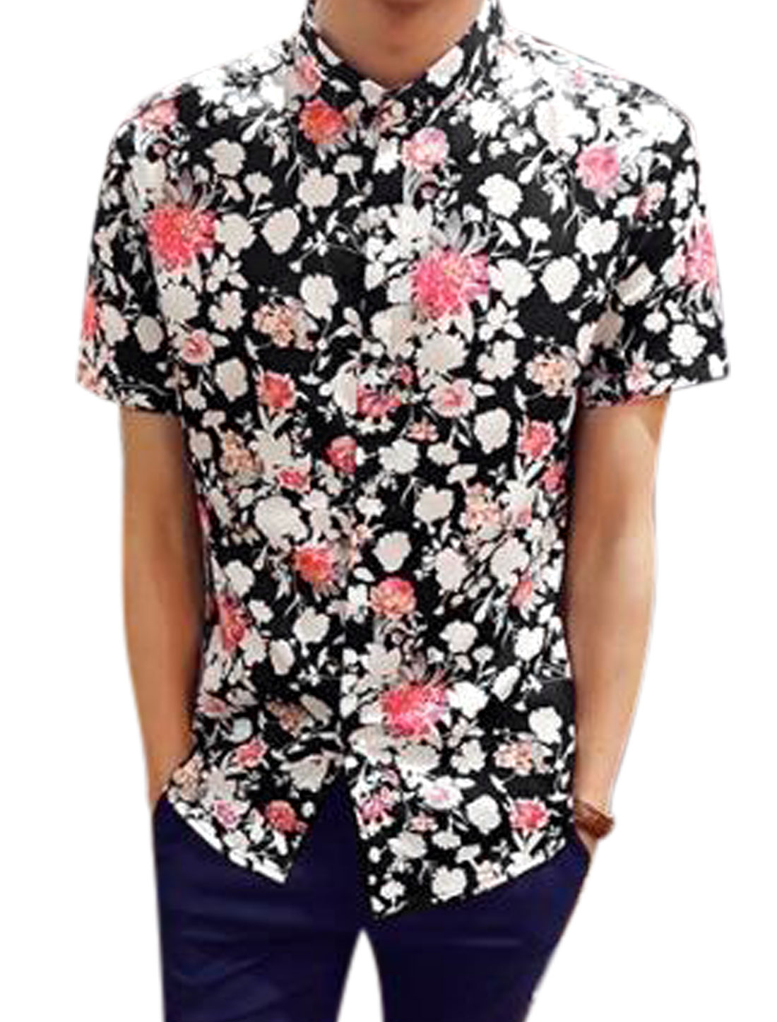 Man Floral Prints Point Collar Single Breasted Leisure Shirt Black S