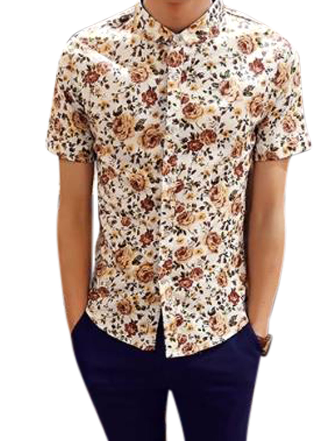 Man Floral Prints Button Down Short Sleeves Shirts Yellow White S