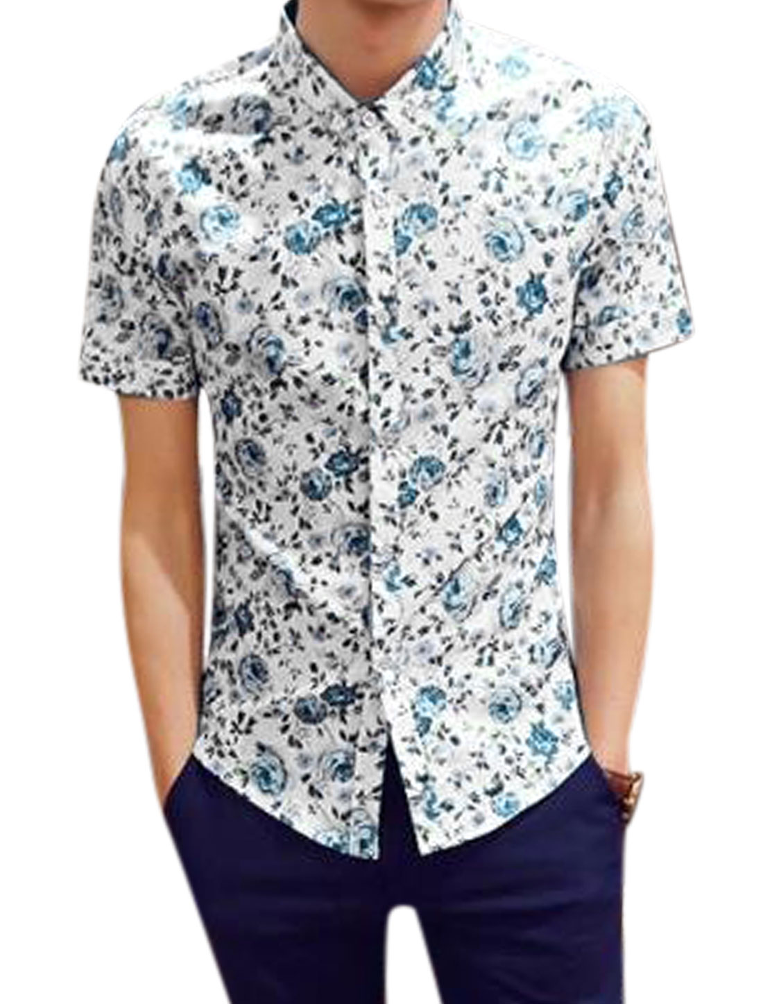 Man Floral Prints Button Fastening Short Sleeves Well-fitting Shirt Blue White S