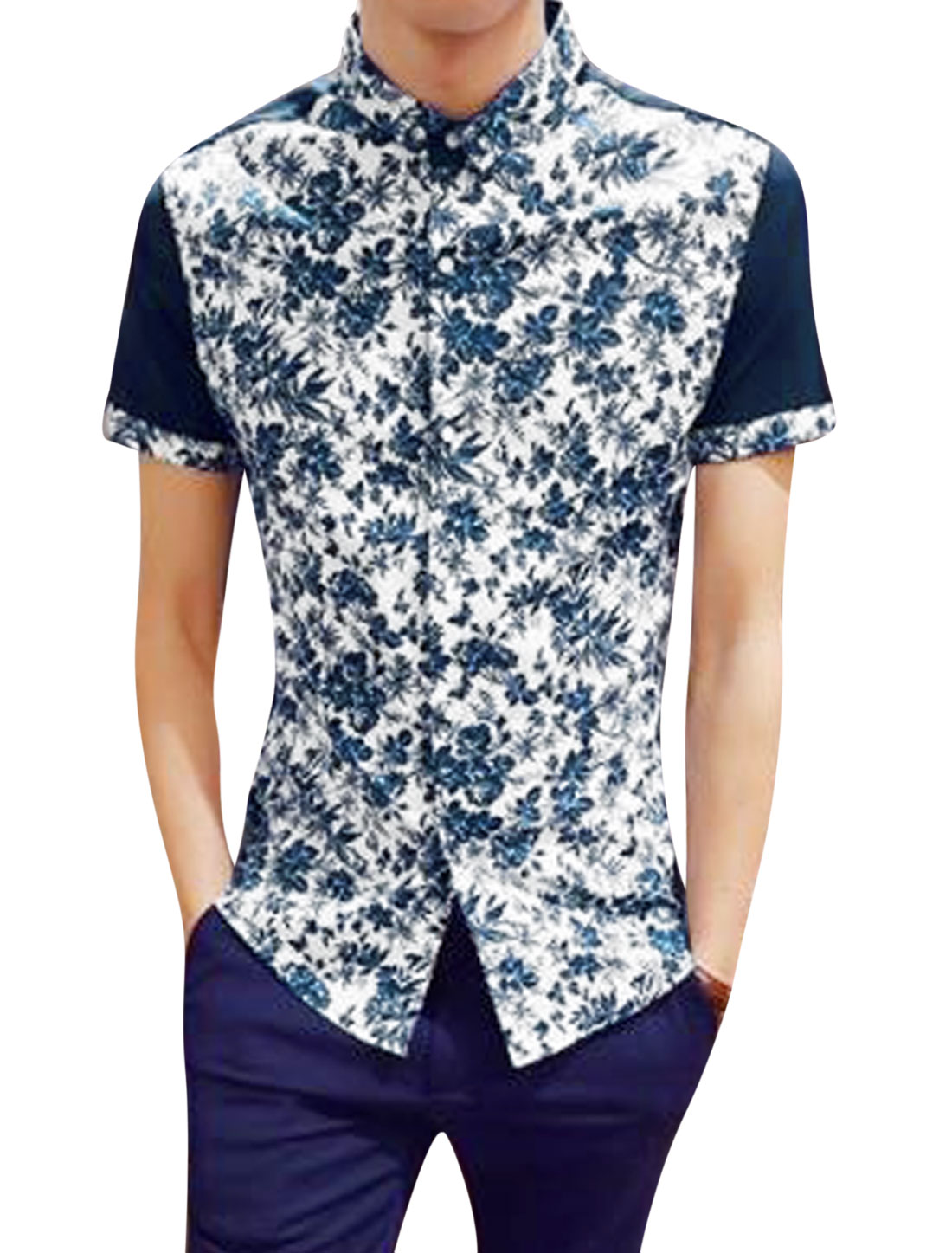 Men Short Sleeve Floral Print Slim Fit Casual Button Down Shirt White S