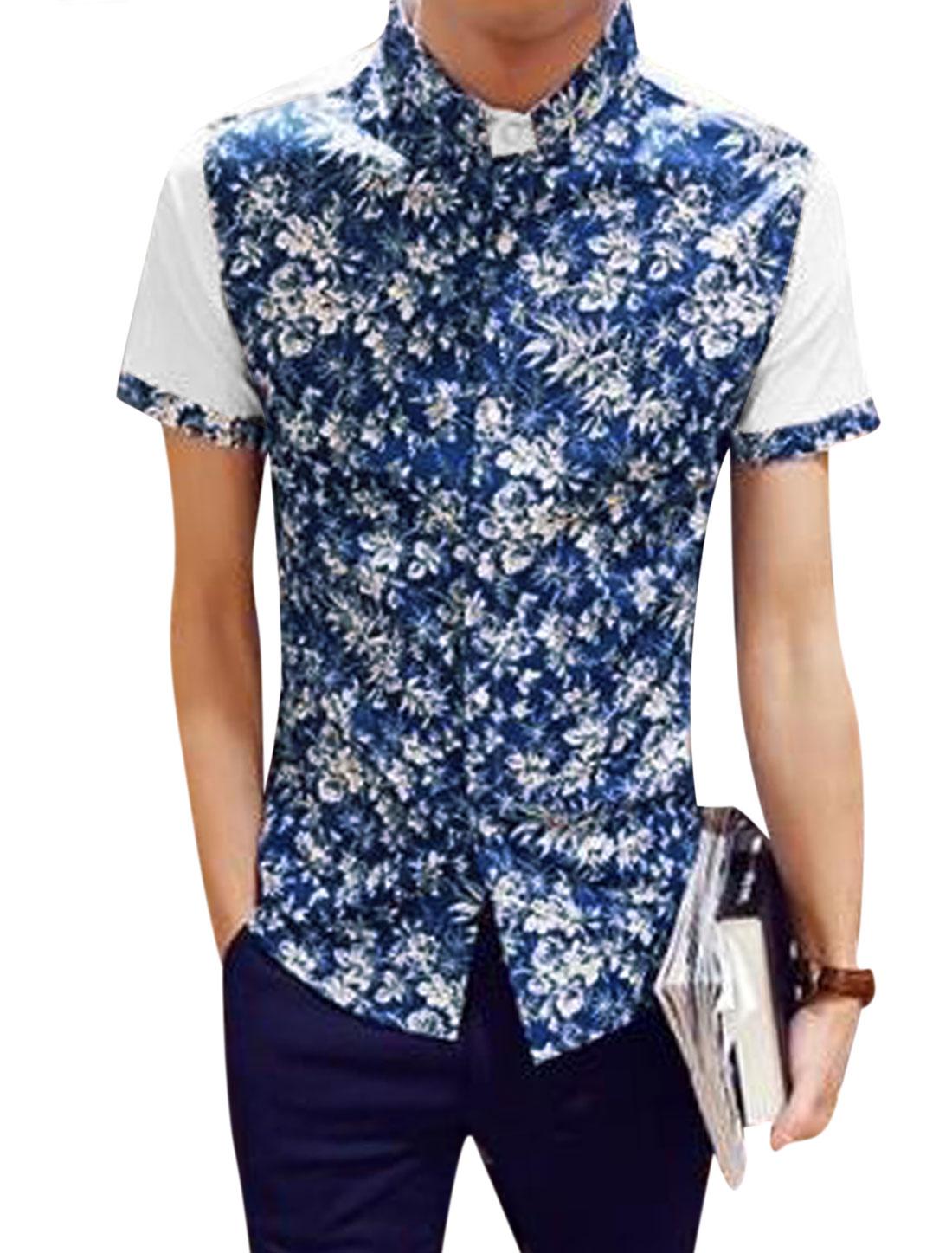 Men Short Sleeve Floral Pattern Summer Button Down Shirts Navy Blue S