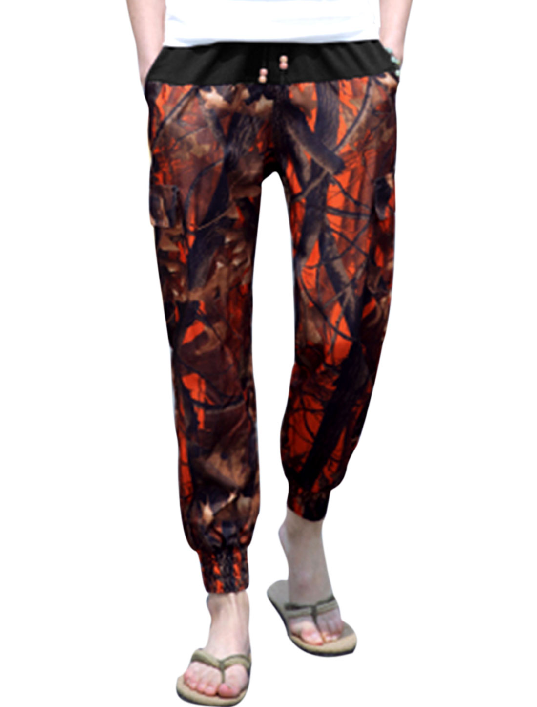 Men Mid Waist Branch Print Casual Summer Cropped Pants Rust W32