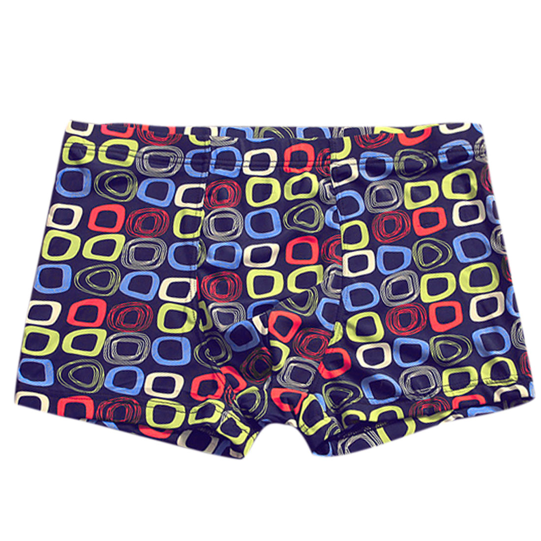 Men Mid Waisted Geometric Print Casual Boxer Brief Navy Blue Red W30