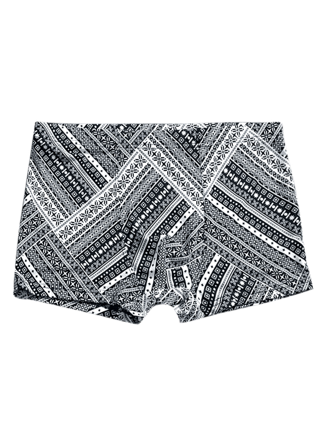 Men Geometric Print Elastic Waist Stretchy Boxer Brief Black White W30