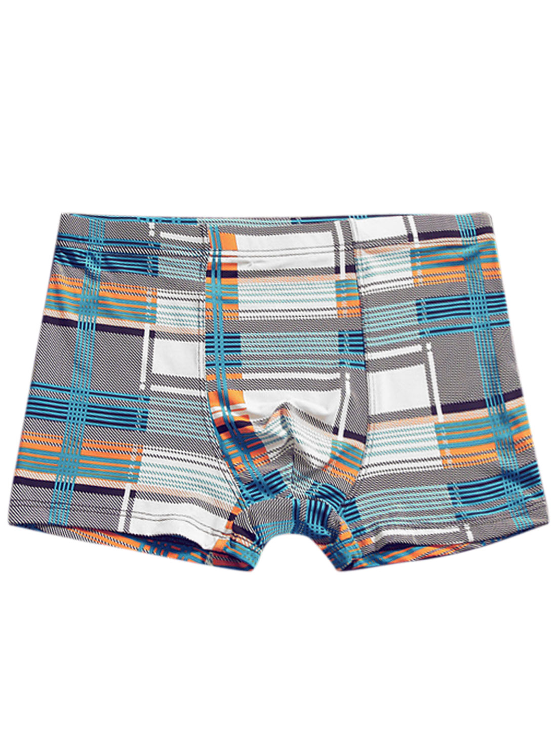Men Geometric Stripes Print Elastic Waist Casual Boxer Brief Aqua White W30