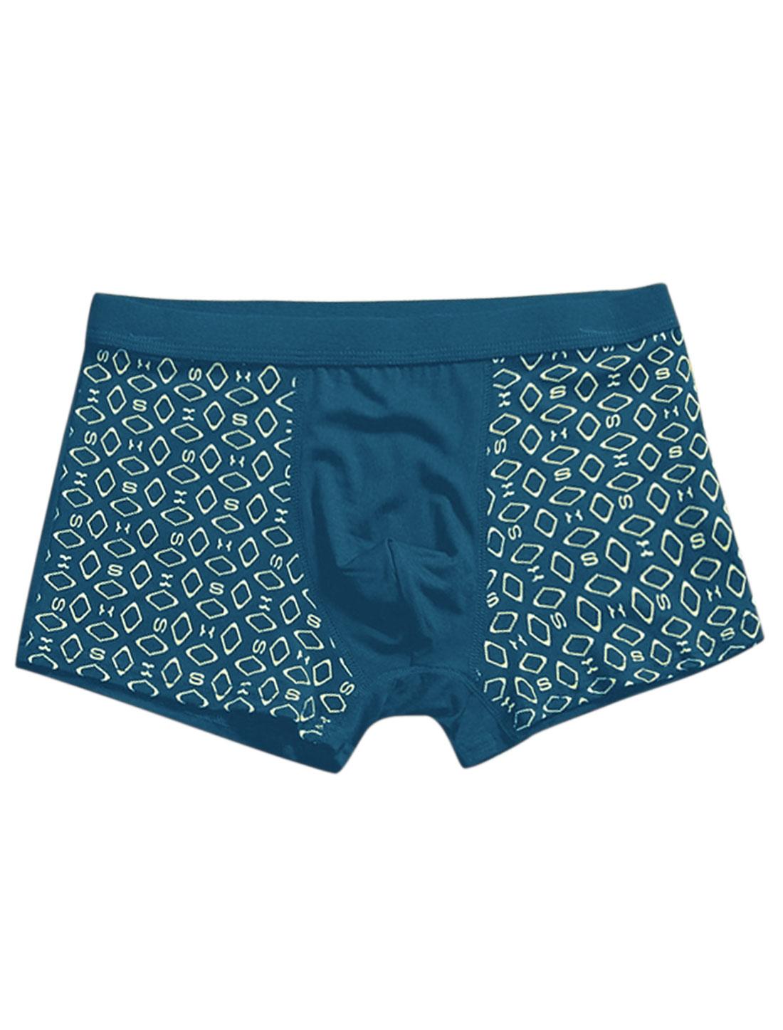 Men Geometric Print Elastic Waist Casual Boxer Brief Turquoise W30