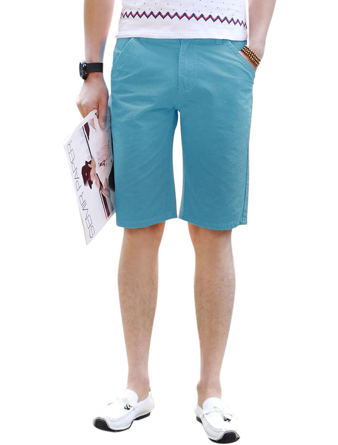 Men Mid Waist Zip Fly Straight Leisure Shorts Sky Blue W34