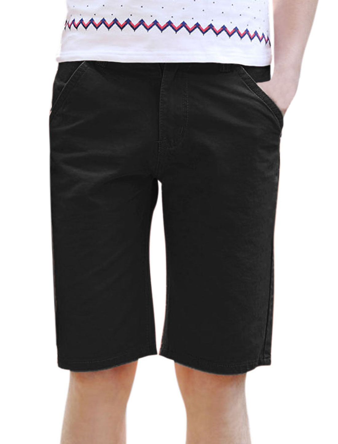 Men Mid Waist Zip Fly Pockets Casual Summer Short Pants Black W32
