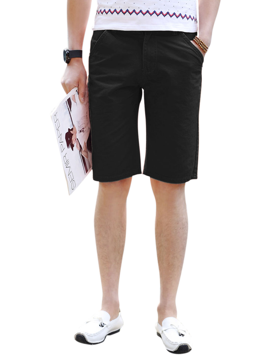 Men Zip Fly Button Closure Straight Summer Short Shorts Black W34
