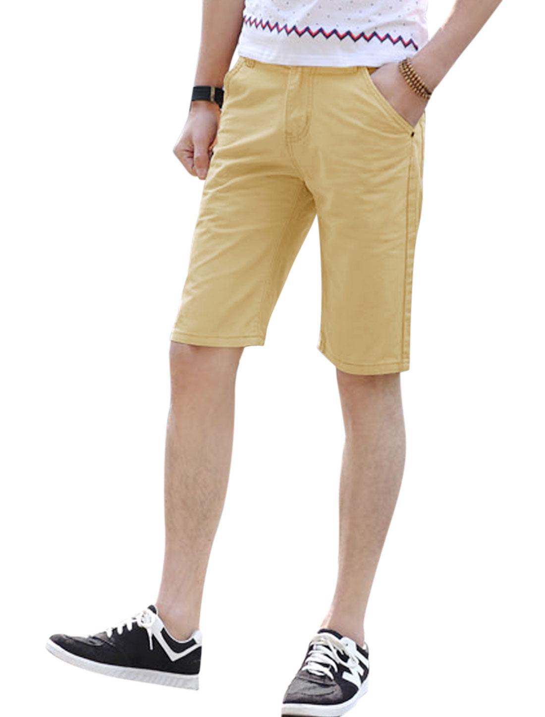 Men Mid Rise Zip Fly Button Closure Summer Short Pants Khaki W34