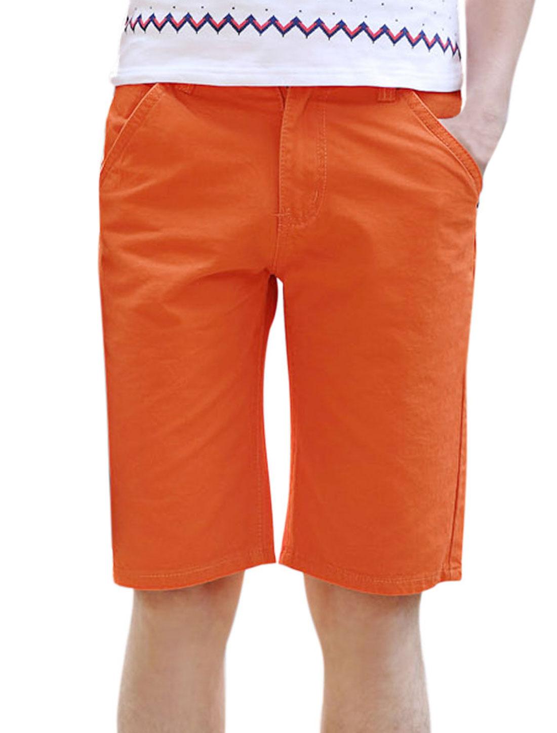 Men Mid Waist Zip Fly Straight Pockets Casual Short Shorts Orange W32
