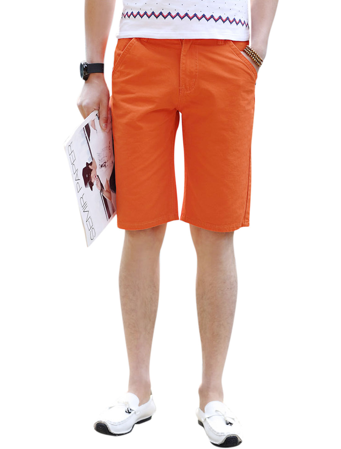 Men Zip Fly Straight Pockets Casual Summer Short Pants Orange W34