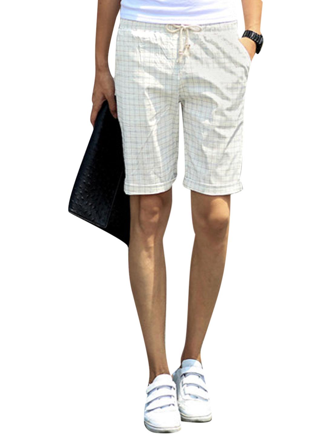 Men Mid Rise Check Print Pockets Casual Short Shorts Beige Burgundy W30