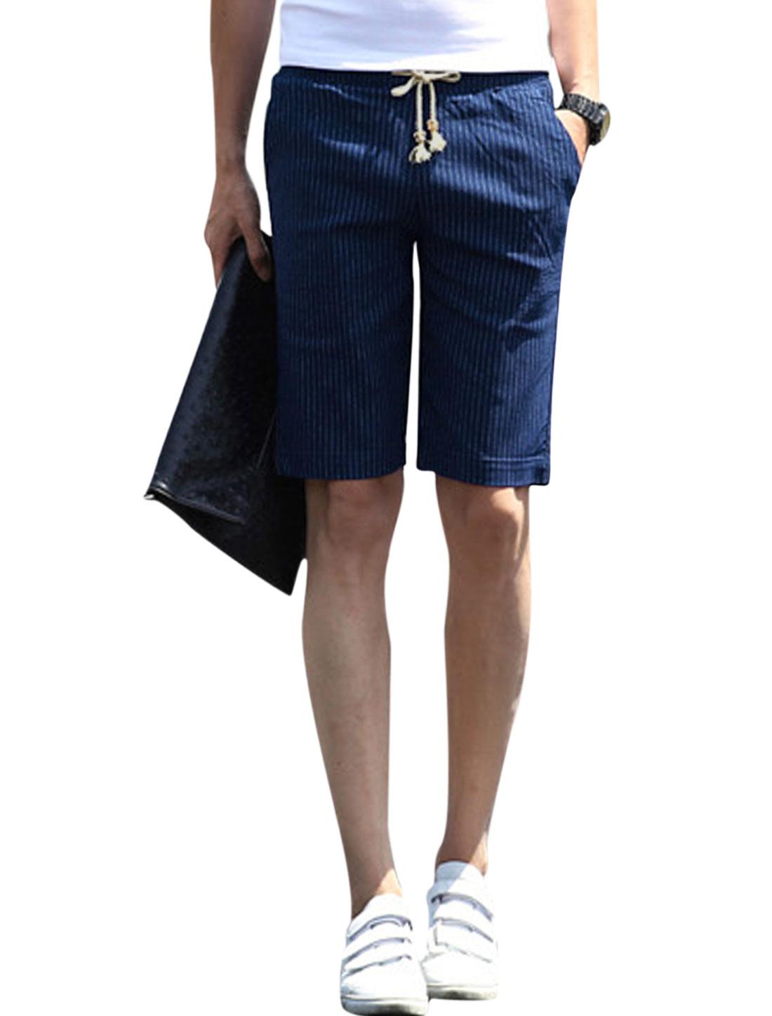 Men Elastic Waist Stripes Print Pockets Summer Short Shorts Navy Blue W30