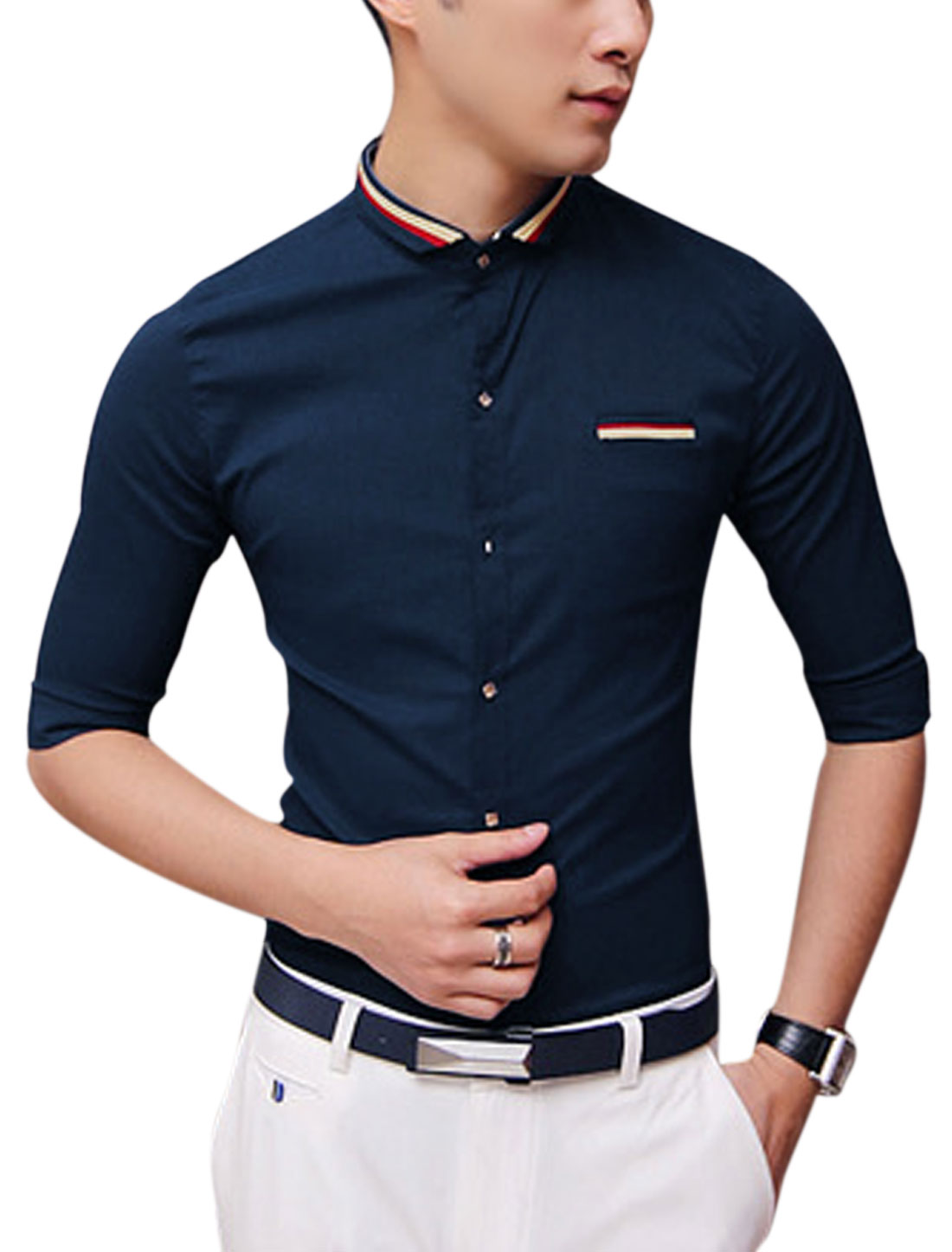 Men Elbow Sleeve Stand Collar Button Up Slim Fit Casual Shirt Navy Blue S