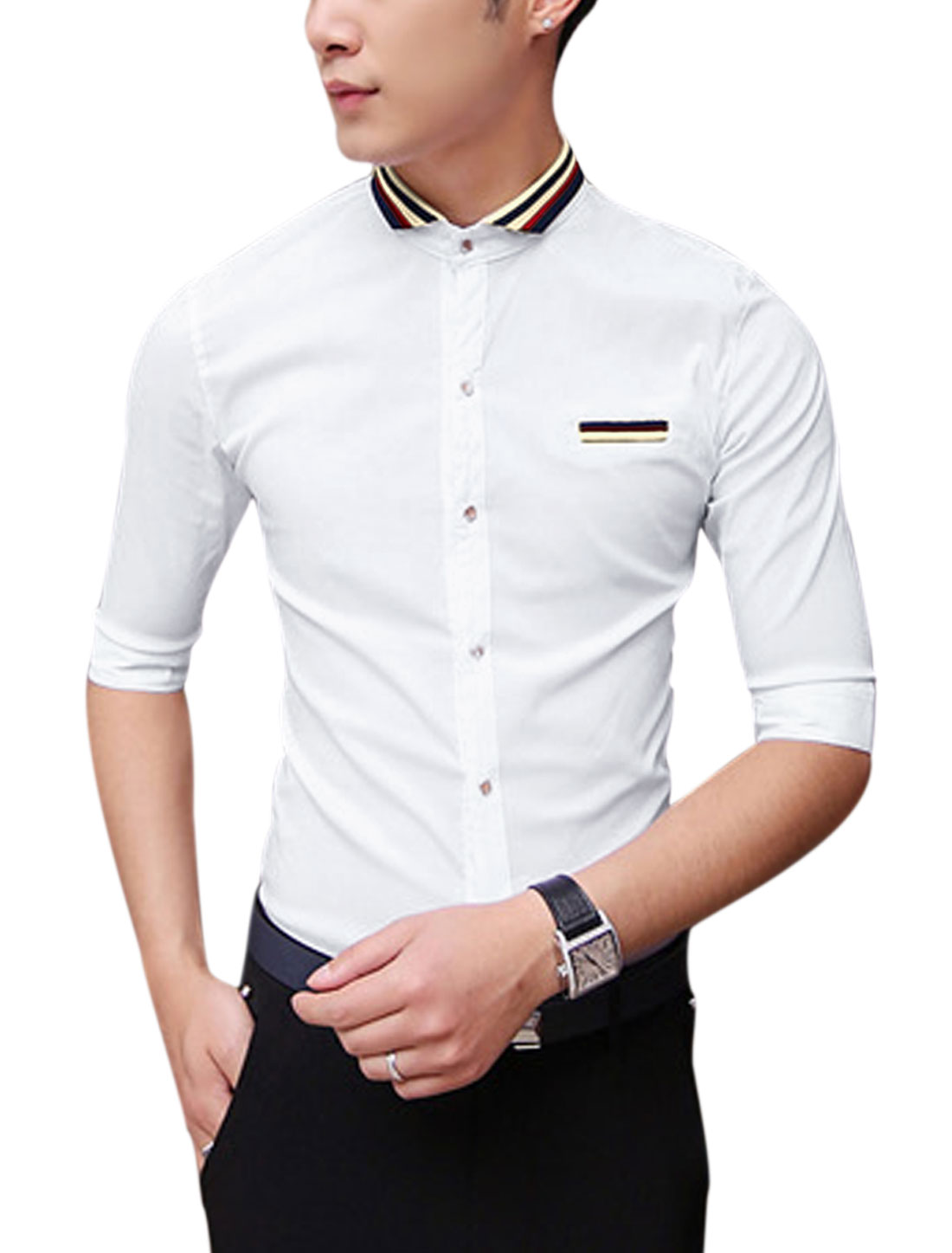 Men Elbow Sleeve Button Up Slim Fit Summer Shirts White S