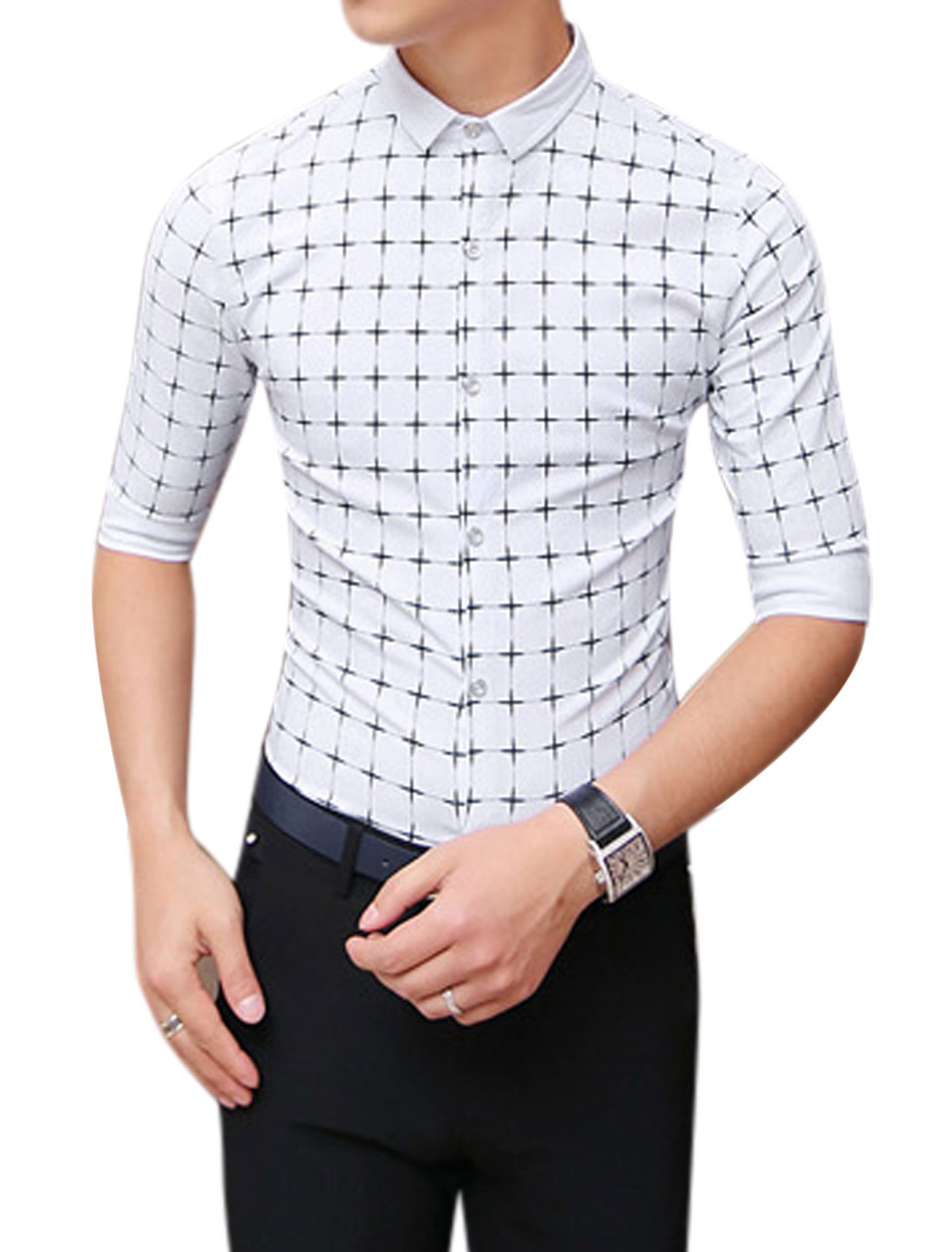 Men Point Collar Checks Elbow Sleeves Casual Shirts White S