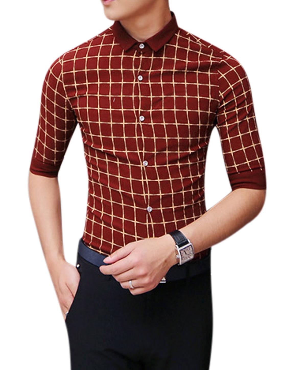 Man Elbow Sleeves Checks Button Down Shirts Burgundy S