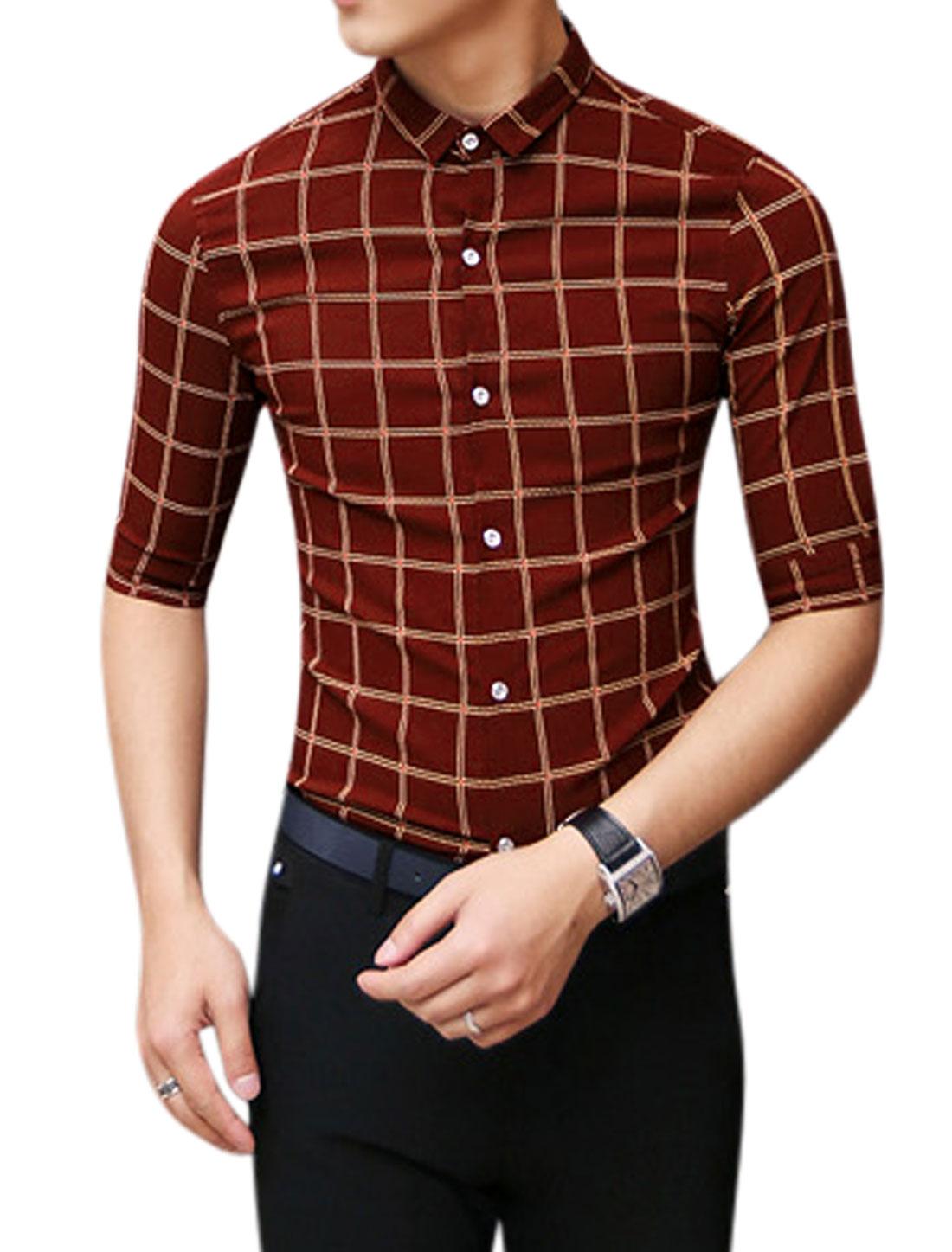 Man Checkered Pattern Pont Collar Half Length Sleeves Shirt Burgundy S