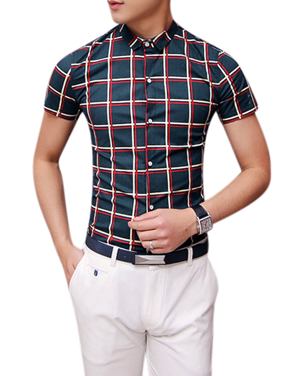 Man Checks Single Breasted Point Collar Short Sleeves Shirt Navy Blue S