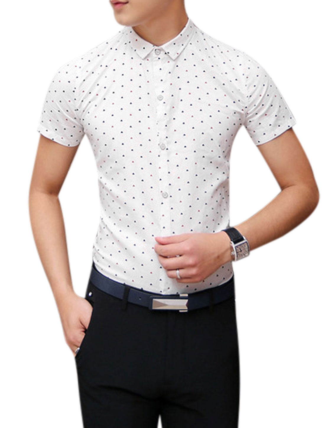 Man Triangle Pattern Button Down Short Sleeves Slim Fit Shirt White S