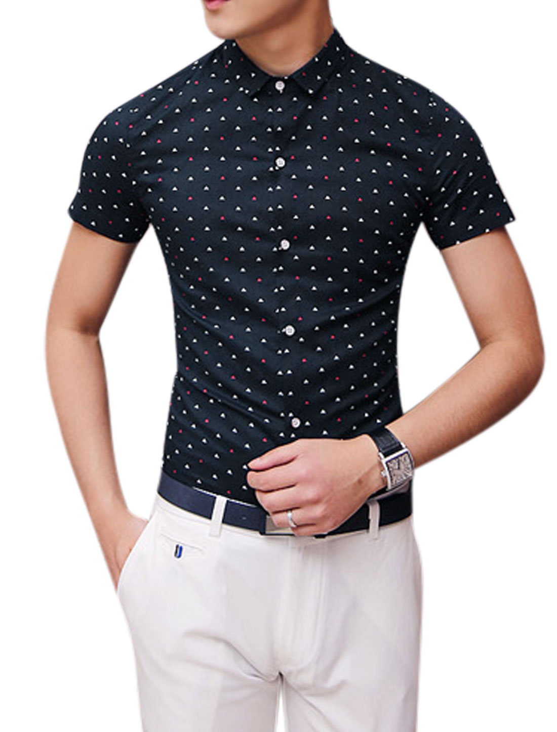 Man Triangle Pattern Button Down Short Sleeves Leisure Shirt Navy Blue S