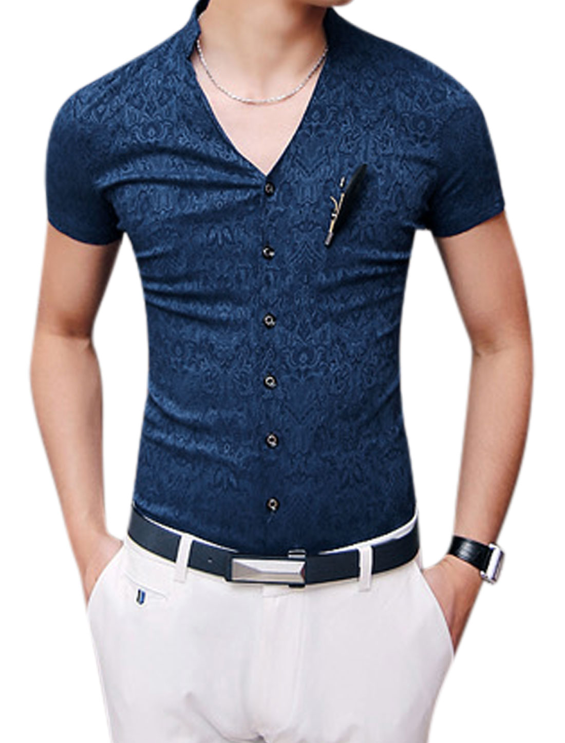 Man Stand Collar V Neckline Button Down Shirts Dark Blue S