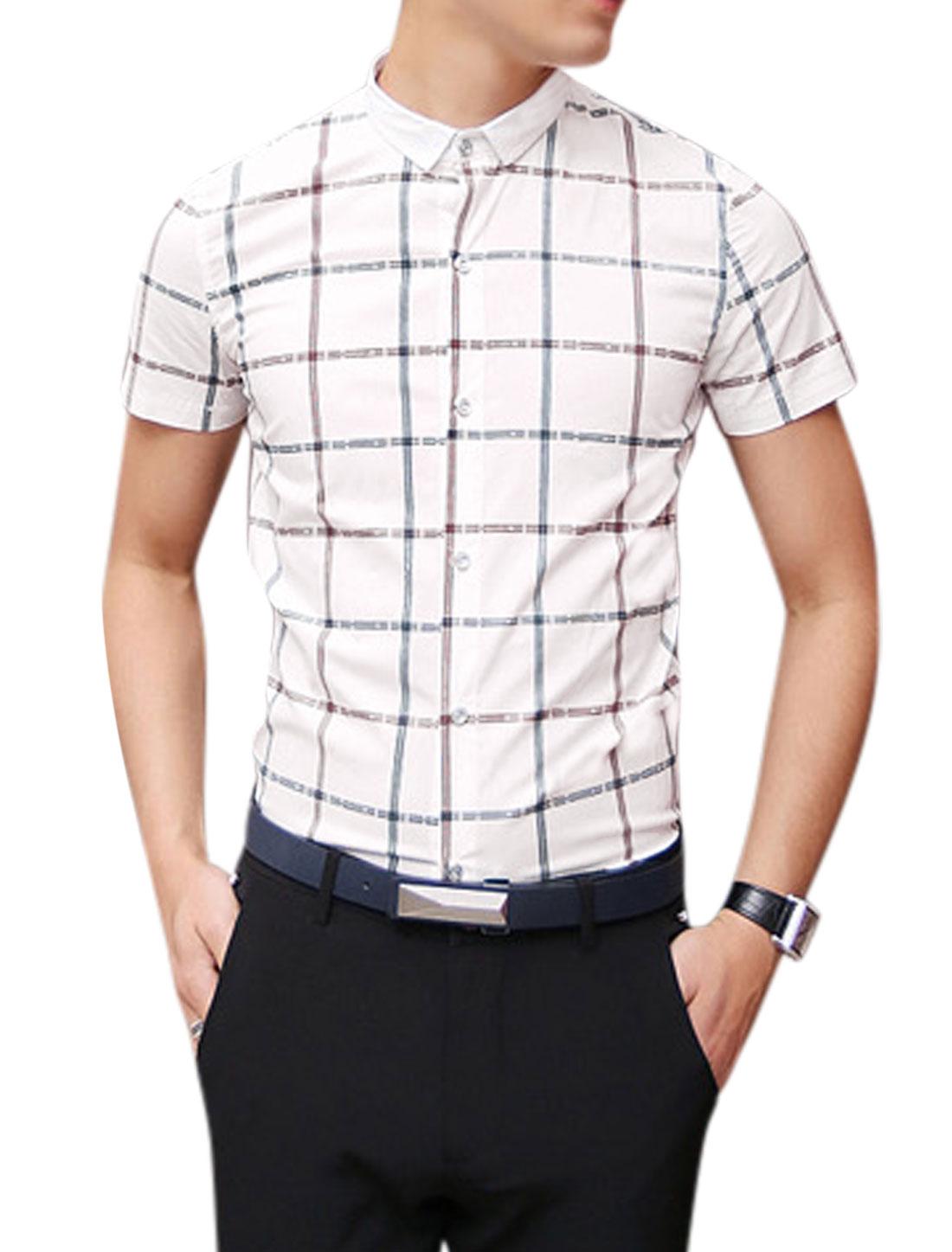 Man Point Collar Checks Short Sleeves Button Down Shirts White S