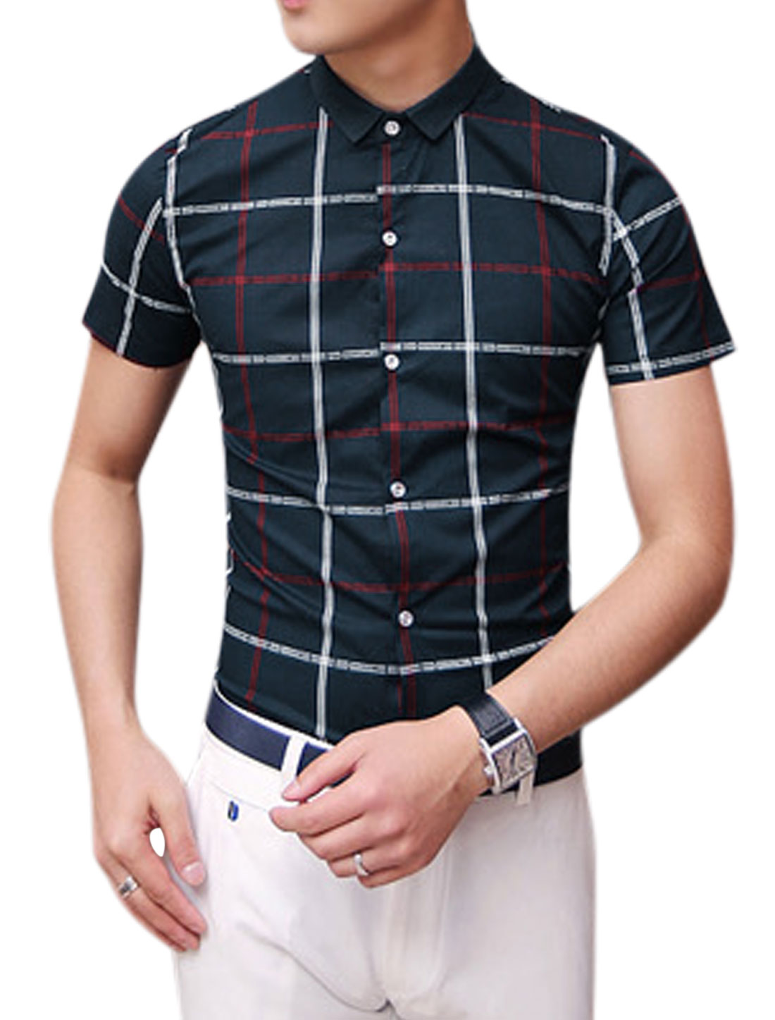 Man Short Sleeves Checks Prints Shirts Navy Blue S