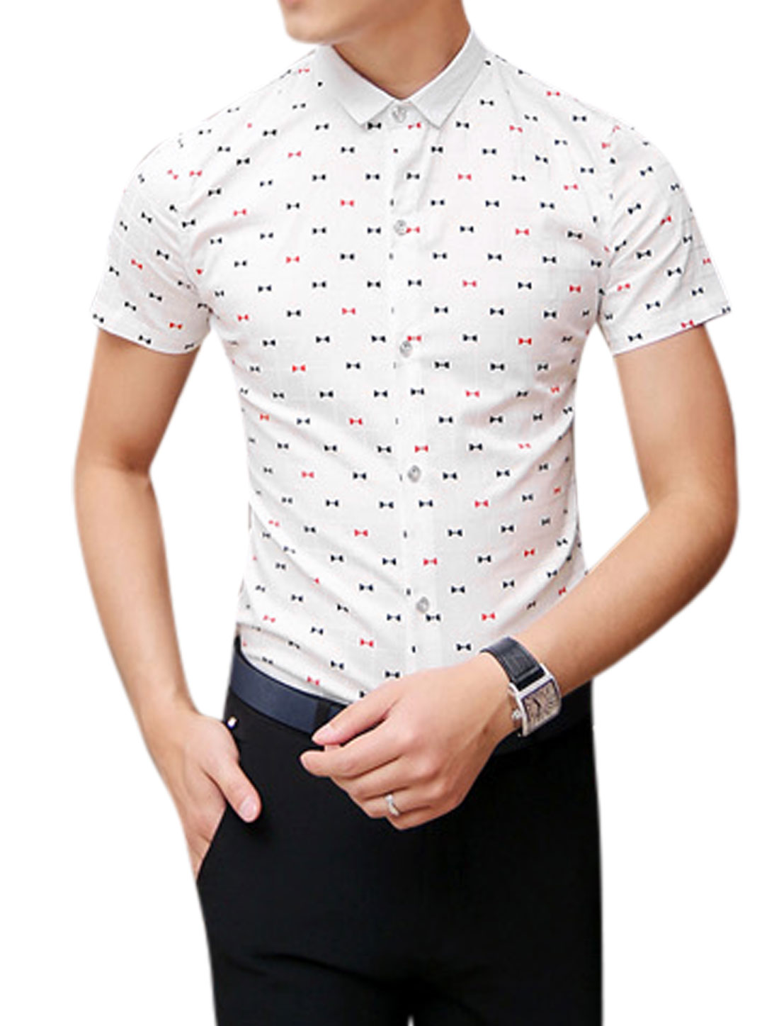 Man Bowknot Pattern Short Sleeves Point Collar Slim Fit Casual Shirt White S
