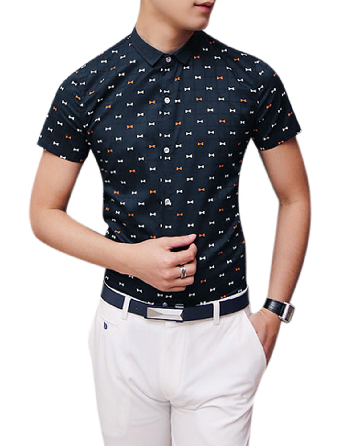 Man Bowknot Pattern Short Sleeves Button Down Slim Fit Casual Shirt Navy Blue S