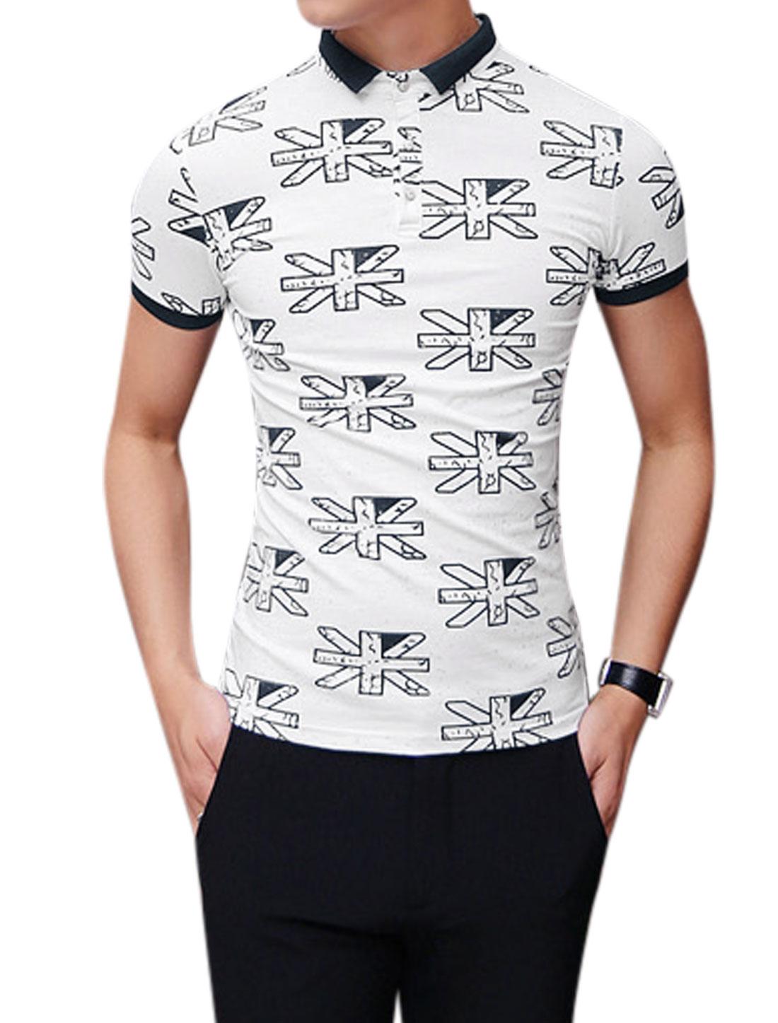 Men Novelty Print Slim Fit Summer Polo T-Shirt White Navy Blue S
