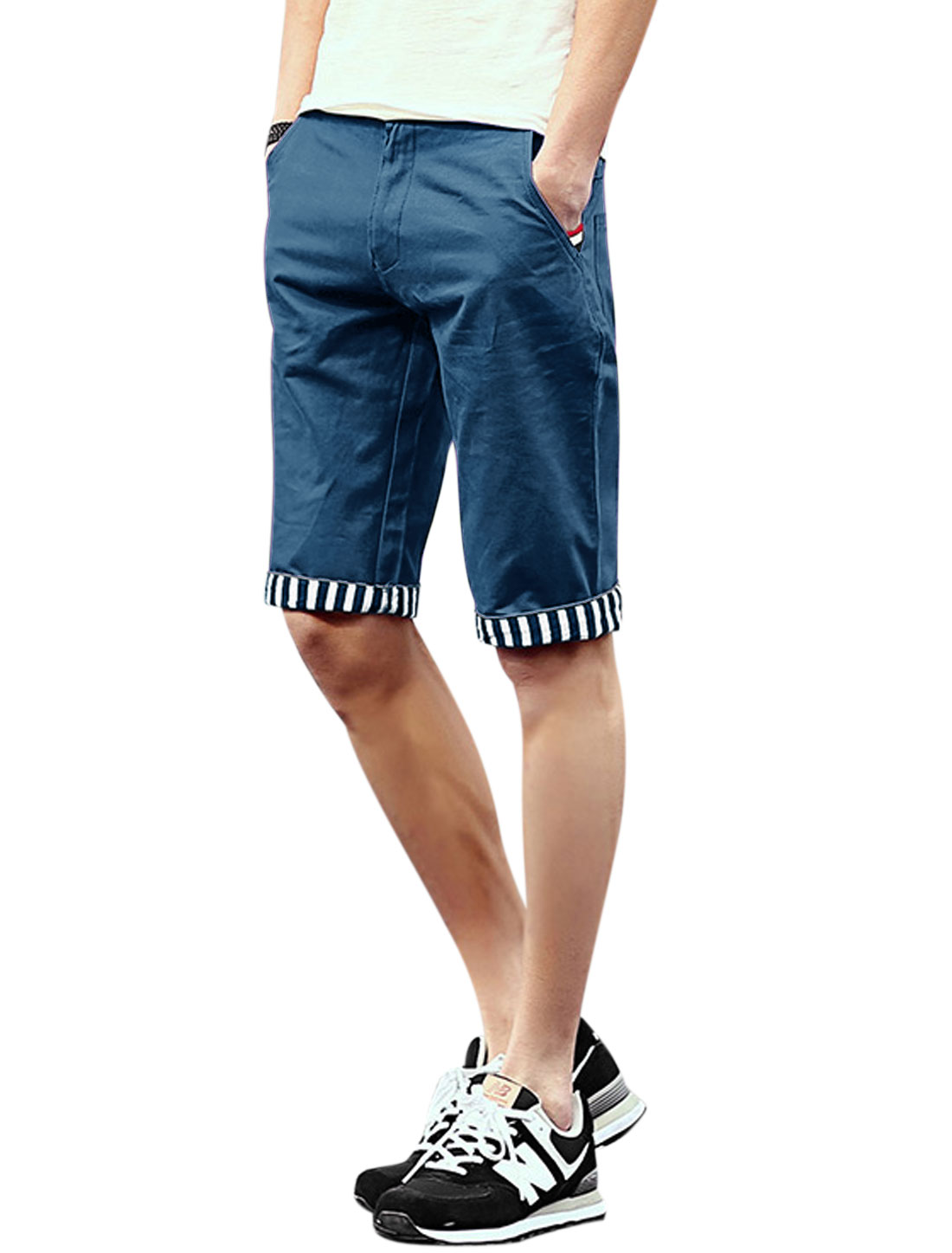 Men Mid Waist Zip Fly Pockets Slim Fit Leisure Short Pants Navy Blue W32