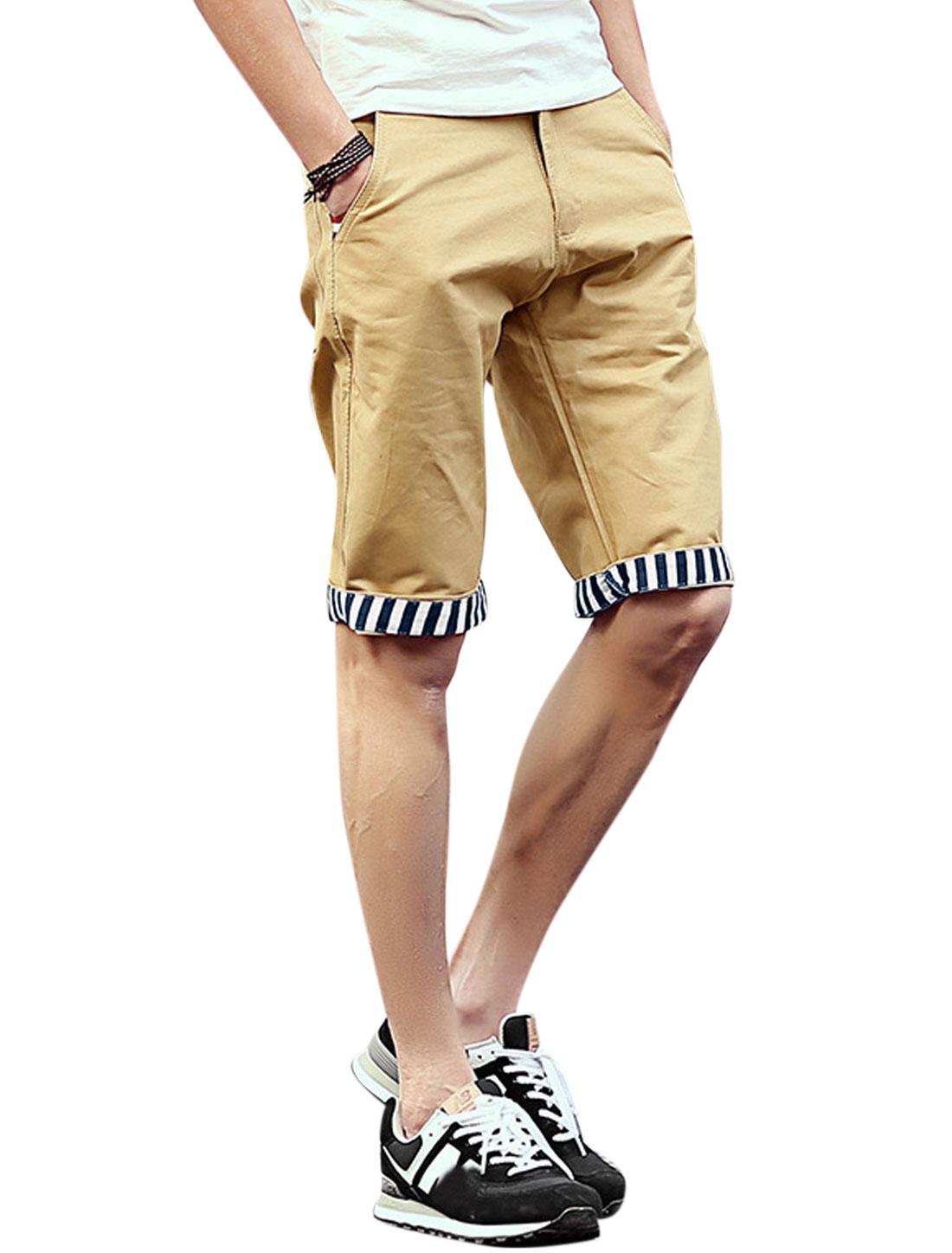 Men Mid Rise Belt Loop Pockets Slim Fit Summer Short Shorts Khaki W32