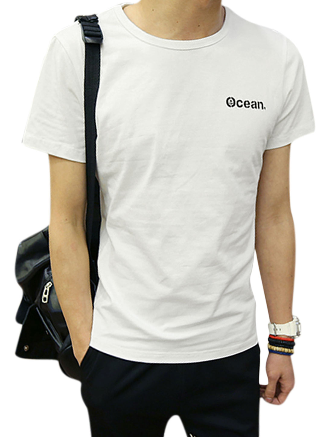 Man Letters Printed Round Neck Short Sleeves Slipover T-shirt White M
