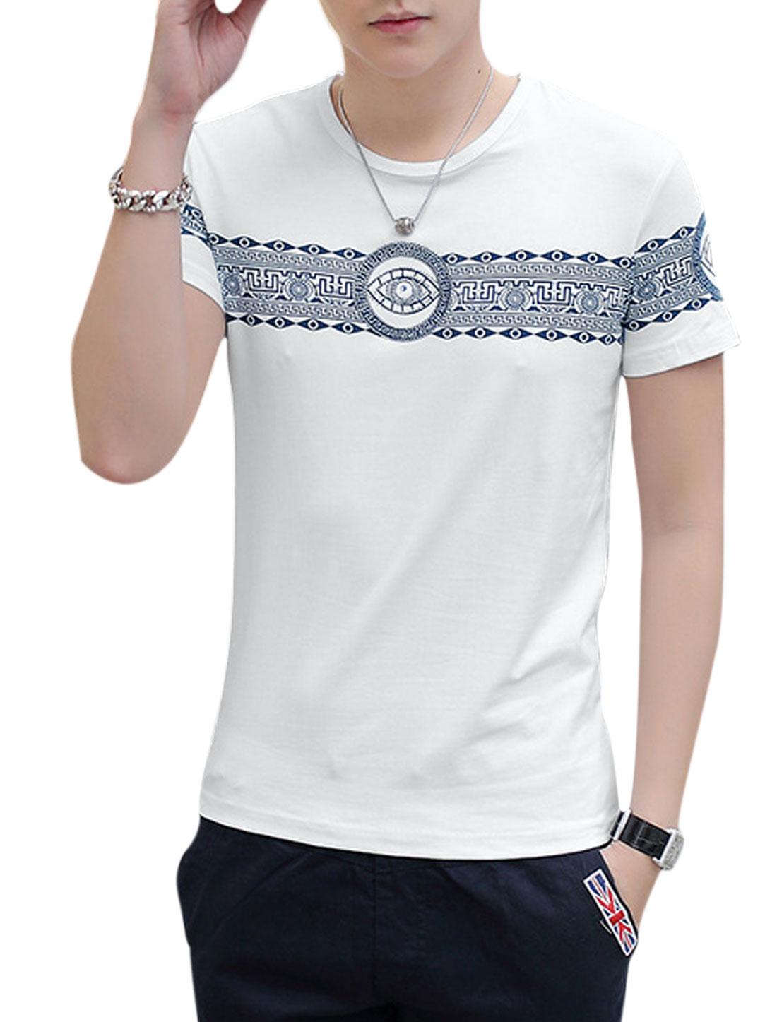 Man Geometric Prints Diamante Short Sleeves Slipover T-shirt White M
