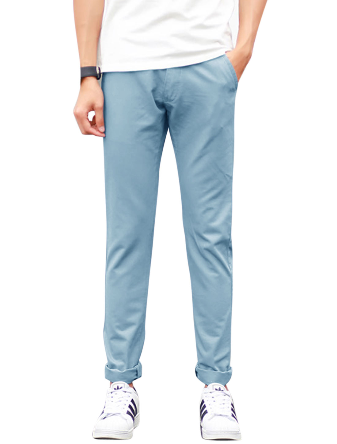 Men Mid Rise Zip Fly Two Slant Pockets Casual Pants Light Blue W34