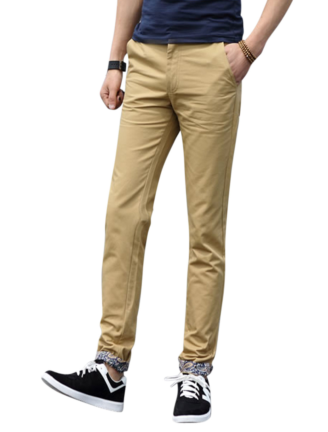 Men Button Fastening Mid Rise Four Pockets Belt Loop Casual Pants Khaki W40