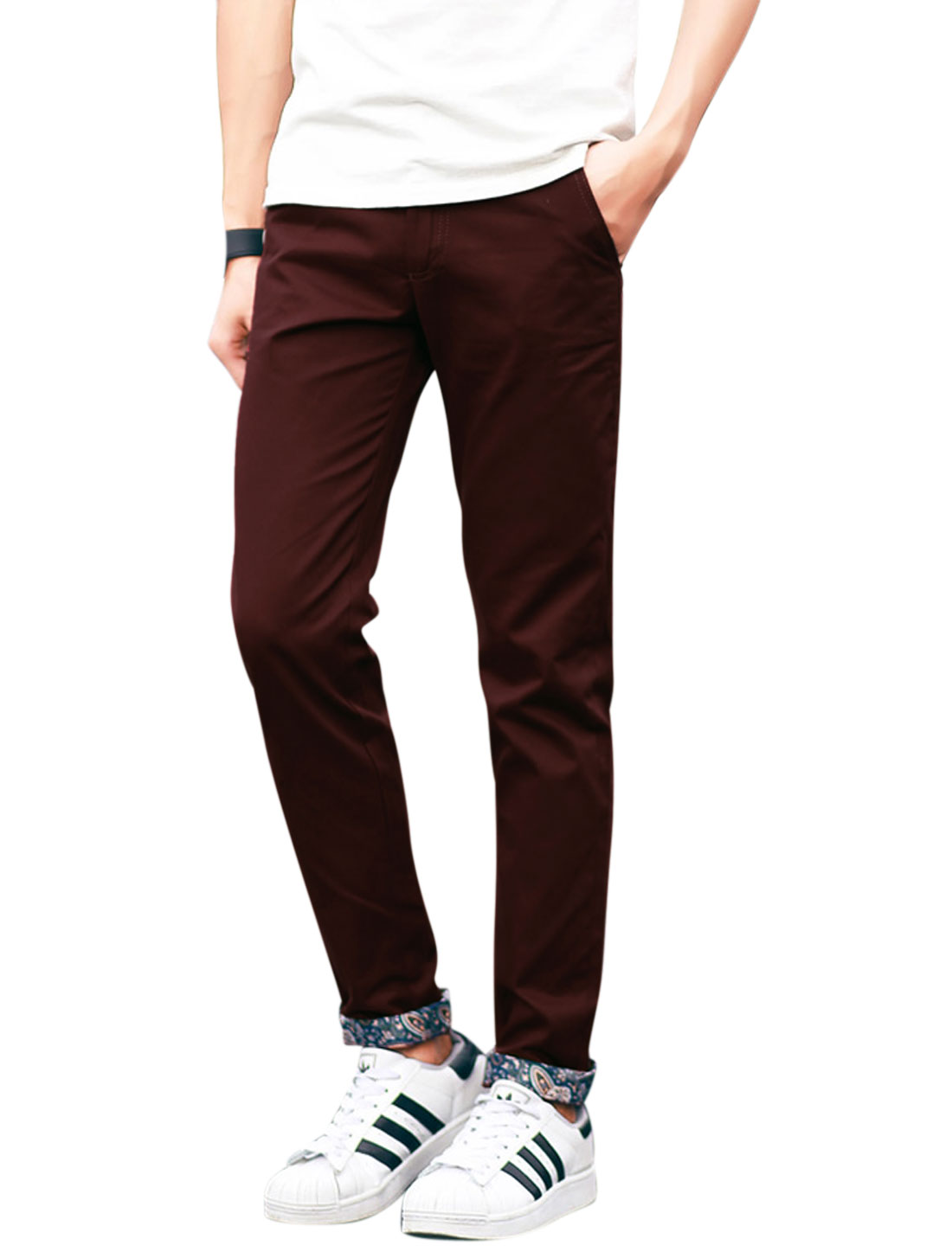 Man Mid Rise Four Pockets Natural Waist Leisure Pants Burgundy W40