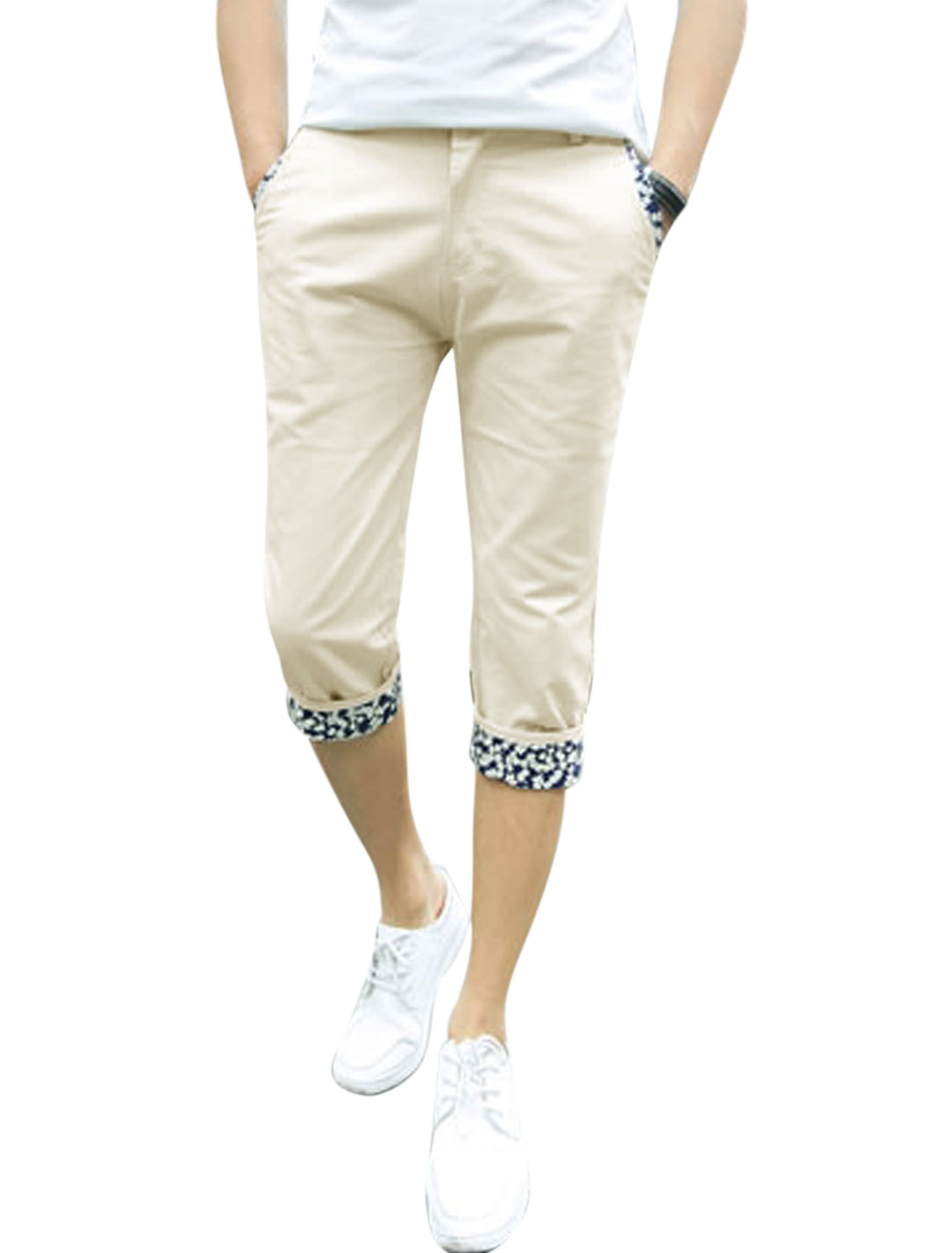 Men Mid Rise Zip Fly Pockets Casual Capris Pants Beige W34