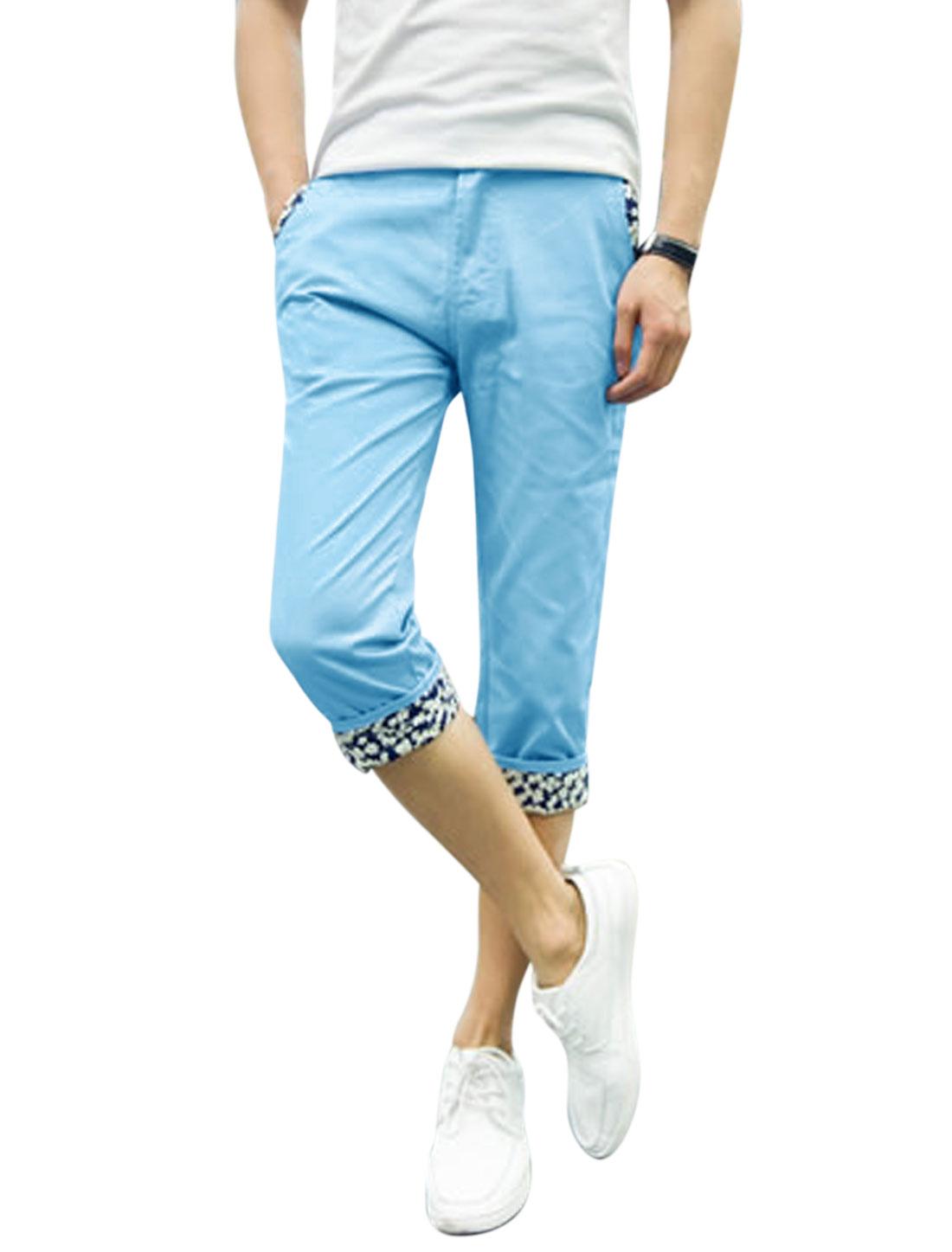 Men Mid Waist Zip Fly Pockets Leisure Capris Pants Sky Blue W32