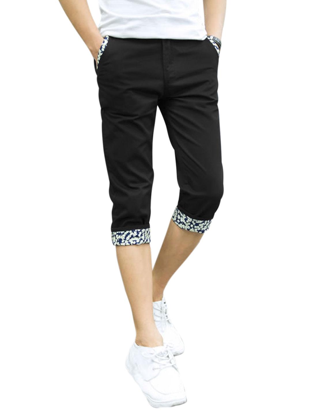 Men Mid Waist Button Closure Pockets Leisure Capris Pants Black W34