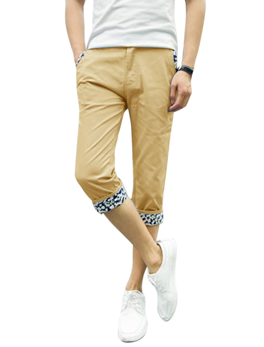 Men Mid Waist Zip Fly Belt Loop Pockets Capris Pants Khaki W34