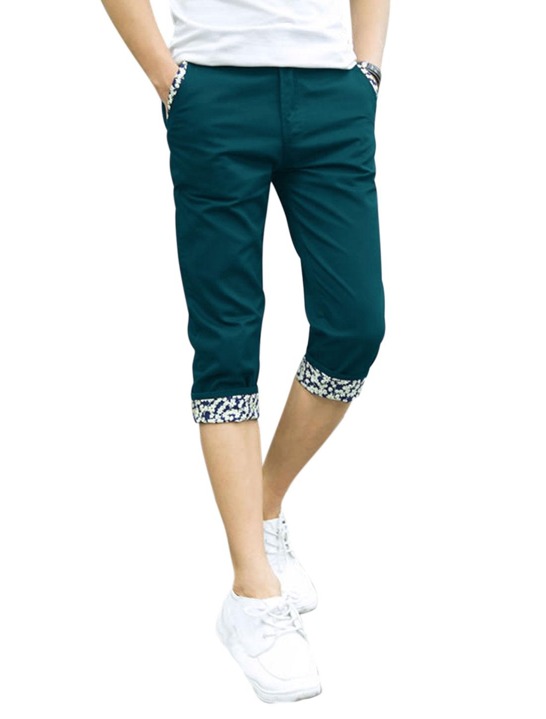Men Mid Waist Zip Fly Belt Loop Slim Fit Capris Pants Peacock Blue W34