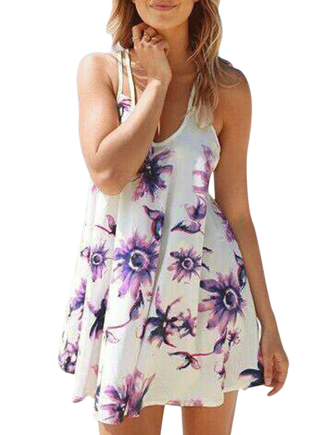 Woman Floral Prints Adjustable Spaghetti Straps Semi Sheer Sundress White S